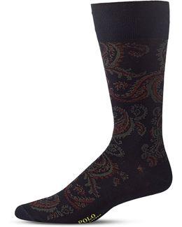Mens Paisley Mid-calf Socks