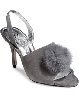 Rabbit Fur Pom-pom Mules