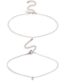 Two-pack Rose Goldtone Choker Necklaces