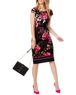 Cap Sleeve Floral Sheath Dress