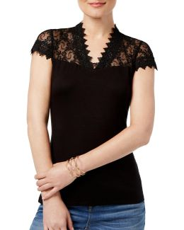 Petite Embroidered Lace Top