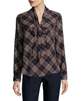 Layla Plaid Bow Blouse