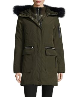 Gilet Down Parka With Faux Fur