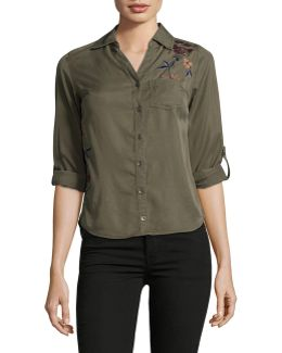 Petite Floral-embroidered Shirt