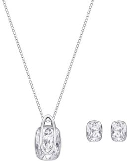 Two-piece Crystal Holding Pendant Necklace And Earrings Set
