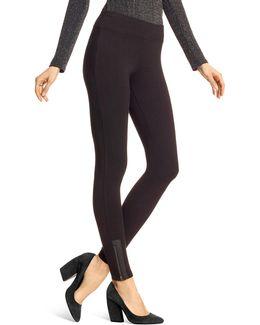 Leatherette Trim Zippered Leggings