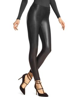 Zip Hem Leatherette Leggings