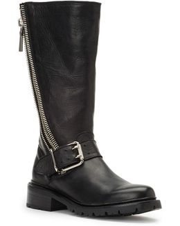 Samantha Zip Leather Tall Boots