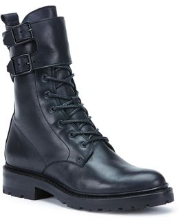 Julie Shield Leather Combat Boots