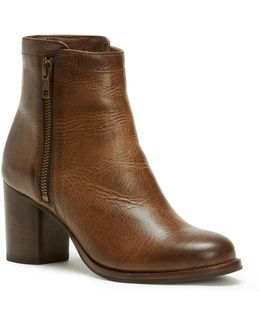 Addie Double Zip Leather Booties