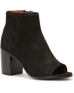 Peep Toe Leather Booties