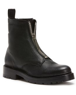 Front Zip Leather Boots