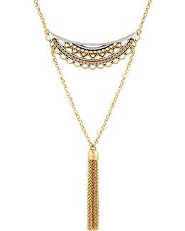 Rock Crystal Openwork Three-tier Pendant Necklace