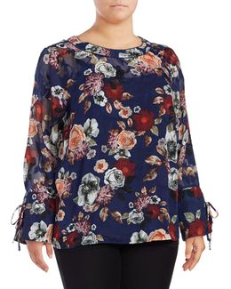 Petite Bell Sleeve Floral Blouse