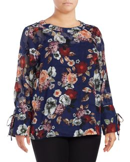 Plus Bell Sleeve Floral Blouse
