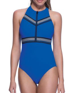 One-piece High Neck Zip Swimsuit