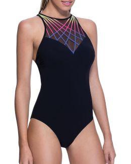 One-piece High Neck Crisscross Swimsuit