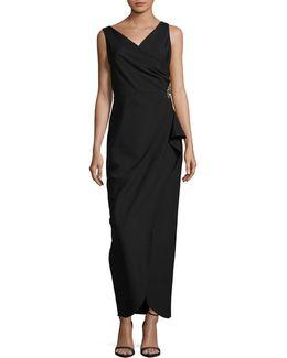 Sleeveless Side Ruche Maxi Dress