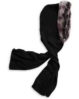 Knit Fur Trim Hooded Scarf