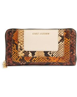 Leather Snake-embossed Wallet
