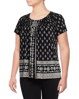Plus Floral Print Pleated Top