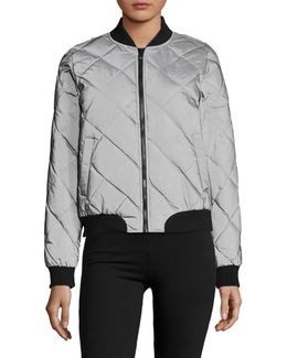 Quilted Reflective Bomber Jacket