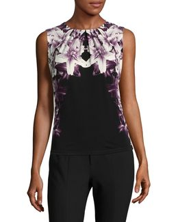 Graphic Floral Sleeveless Top