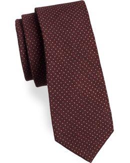 Woven Polka-dot Silk Tie