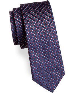 Grid-print Silk Tie