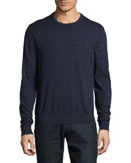 Marled Striped Cotton Sweater