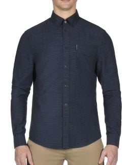 Pinstripe Cotton Casual Button-down Shirt
