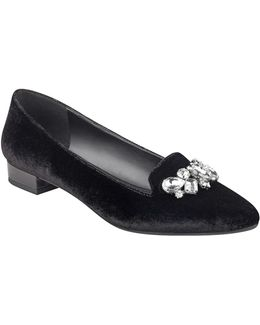 Point Toe Jewel Velvet Loafers
