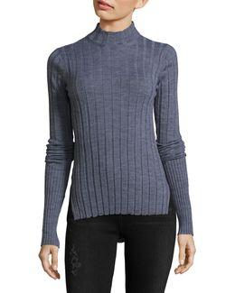 Wide-rib Mock Neck Sweater