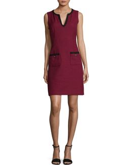 Contrast Tweed Sheath Dress