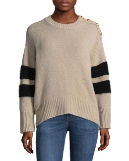 Wool-blend Stripe Stud Detail Sweater