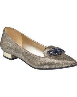 Metallic Flats With Reflective Heel