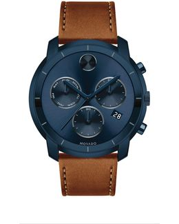 Bold Large Chronograph Stainless Steel Leather Strap Watch