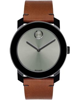 Bold Large Stainless Steel Leather Strap Watch