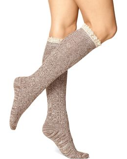 Womens Spacedyed Cable Knee Socks