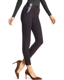Leatherette Trim Leggings