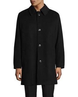 Point Collar Wool-blend Overcoat