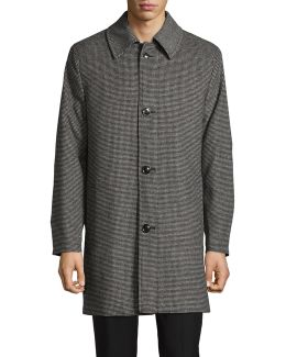 Point Collar Houndstooth Wool-blend Overcoat