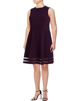Mesh Panel Fit-and-flare Dress
