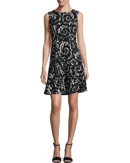 Sleeveless Scroll Print Dress