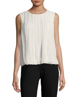 Bubble-hem Pleated Blouse