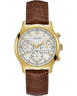 Chronograph Goldtone Croc-embossed Brown Leather Strap Watch