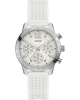Chronograph Silvertone Perforated Silicone Strap Watch