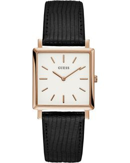 Analog Rosegold-tone Square Case Black Leather Strap Watch