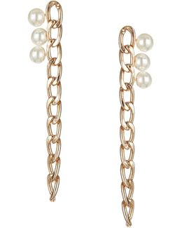Goldtone Link And Faux Pearl Earrings