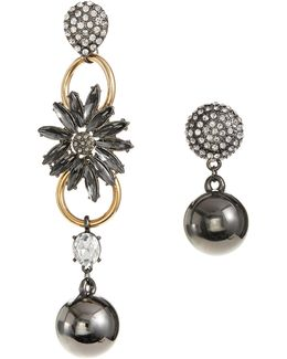 Mismatch Pave And Ball Drop Earrings